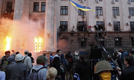 Fire in trade union building in Odessa