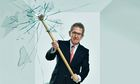 Lord Browne smashing his way out of a glass closet