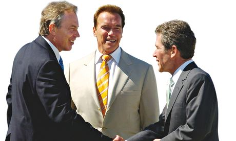 Lord Browne with Tony Blair and California governor Arnold Schwarzenegger in 2006