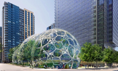 An artist's impression of new Amazon headquarters in South Lake Union, Seattle.
