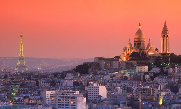 Sacre-Coeur and Eiffel Tower above Paris.