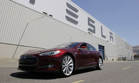 A Tesla Model S outside the electric car company's factory in Fremont, California.