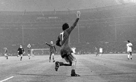 Manchester United's George Best wheels away after putting his team 2-1 ahead in extra-time during the 1968 final.