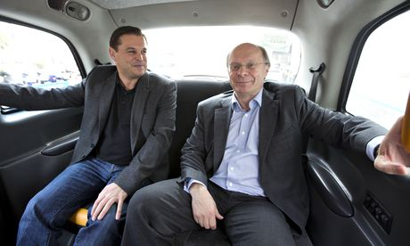 Hailo's Ron Zeghibe with co-founder Gary Jackson in the back of a black cab.
