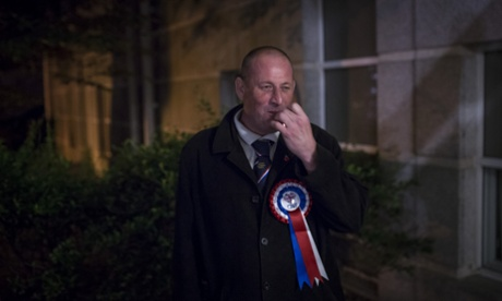 BNP candidate Dave Clarke waits for results of local elections in Croydon.