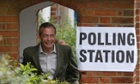 Nigel Farage at  polling station in Cudham.