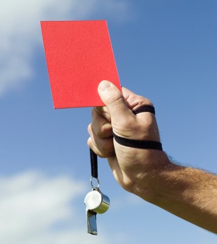 Red card and whistle