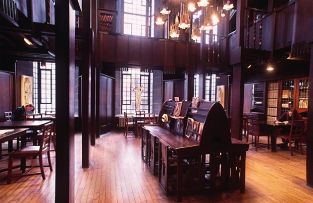 Mahogany wooden interior of the Glasgow School of Art, designed by Charles Rennie Mackintosh.
