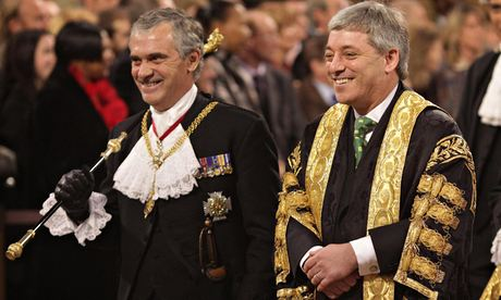 John Bercow, right, and Black Rod Sir Freddie Viggers at the state opening of parliament, in 2009