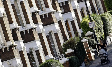 A row of terraced houses in south London, where prices are too high for most young people.