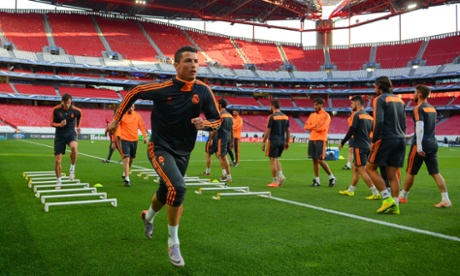 Cristiano Ronaldo of Real Madrid runs during a  training session in Lisbon.