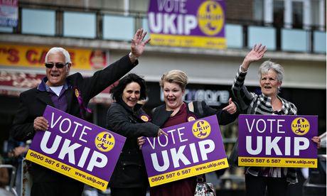 Ukip supporters await party leader Nigel Farage in South Ockendon in Essex.