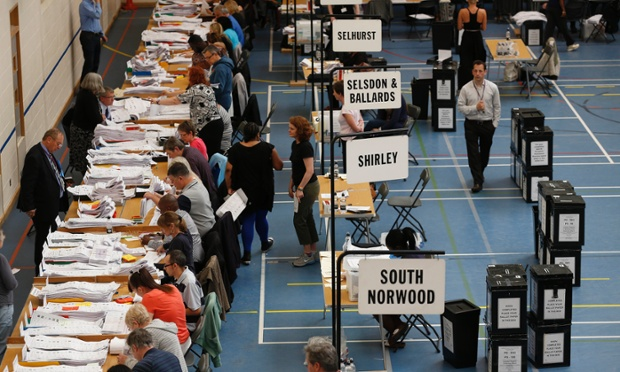 Counting taking place for the London region of European Parliament elections in Croydon, south London