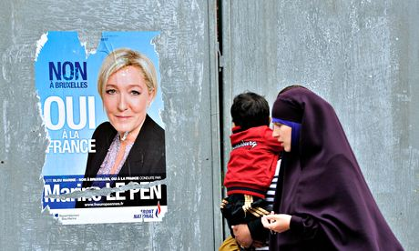 poster of French far-right Front National (FN) party president Marine Le Pen