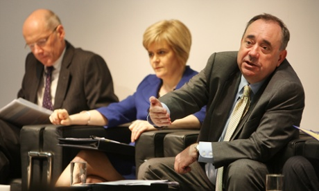 John Swinney, Nicola Sturgeon and Alex Salmond on stage during a Q&A session with the public in Rutherglen on Tuesday.