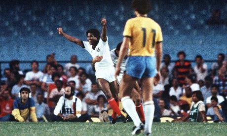 John Barnes celebrates scoring against Brazil