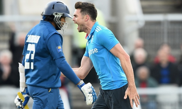 James Anderson of England celebrates the wicket of Tillakaratne Dilshan.