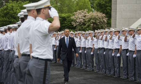 Obama arrives at West Point.