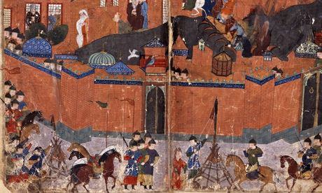 Mongols at the gates of Baghdad in 1258 … from the Jami al-Tawarikh by Rashid al-Din, c 1310.