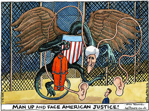 Steve Bell on Edward Snowden and John Kerry