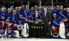 The New York Rangers pose with Deputy Commissioner Bill Daly and the Prince of Wales Trophy after defeating the Montreal Canadiens in Game Six to win the Eastern Conference Final in the 2014 NHL Stanley Cup Playoffs at Madison Square Garden.