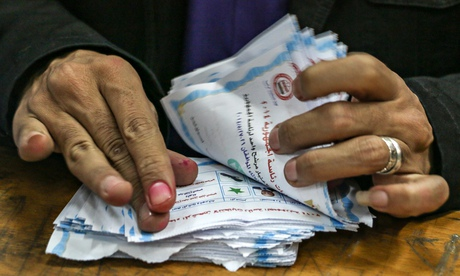 Vote counting at the Egytian presidential election 2014