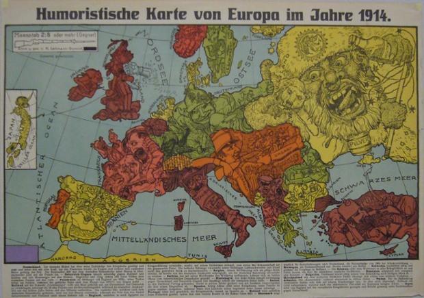 """Karl Lehmann-Dumont iki haritalar, 1914 yılında Dresden yayınlanan, hem """"Humoristische Karte von Europa im Jahre 1914 olarak adlandırılan hem ikinci"""