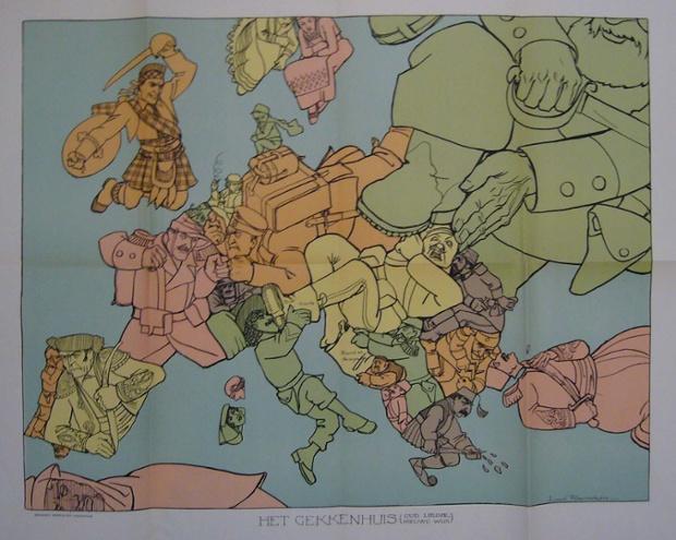 Louis Raemakers tarafından Hollanda haritası 1915 yılında Amsterdam'da yayınlandı. Başlığı 'Het Gekkenhuis (Ud Liedje, Nieuwe Wijs)' kabaca 'Lunatic Asylum (Eski Şarkı, Yeni Dinle)' olarak çevirir.  Bu çıldırmış bir dünyada tarafsız bir gözlemci için oldukça uygun görünüyor.  Nötr Holland bakan ve barışçıl bir boru çekerek olmasına rağmen, aslında, o kullanışlı bir tabanca vardır;  kendi işlerine niyet İspanya ve Portekiz'de, aksine, Hollanda onun kavgacı komşuya omzunun üzerinden bakarken, tetikte.  Alman hükümetinin baskısı altında sanatçı, Louis Raemaekers, Hollandalı tarafsızlığını tehlikeye yargılanıyor onu konulmuştur.  İşini devam beraat ancak Londra'ya geçtik edildi.