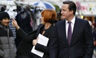 Mary Portas and David Cameron tour a street market in Camden.