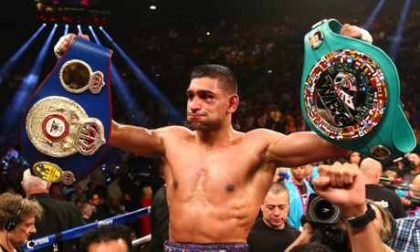 Amir Khan celebrates his victory against Luis Collazo  at the MGM Grand, Las Vegas.