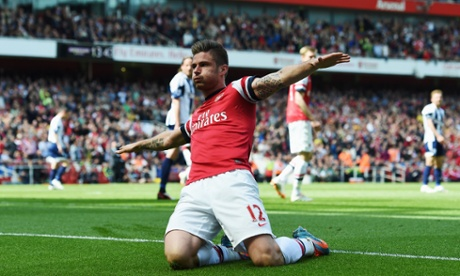 Olivier Giroud of Arsenal after scoring during the Barclays Premier League match between Arsenal and West Bromwich Albion.