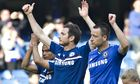 Chelsea's John Terry, Frank Lampard and Ashley Cole salute fans after their match against Norwich
