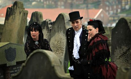 Goths in costume at the annual Gothic Weekend, Whitby, the town that inspired Bram Stoker's Dracula