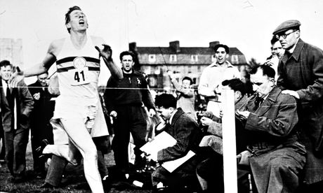 Roger Bannister breaking the world mile record and the four-minute barrier in Oxford