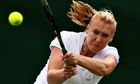 Elena Baltacha of Great Britain playing a backhand during the women's singles at Wimbledon in 2008