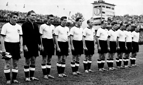 West Germany players line up