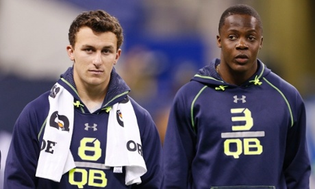 Texas A&M quarterback Johnny Manziel and Louisville Cardinals QB Teddy Bridgewater during the 2014 NFL Combine at Lucas Oil Stadium, Indianapolis.