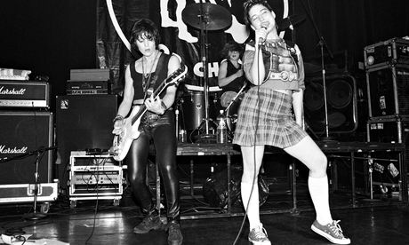 Bikini Kill on stage with Joan Jett (left) at Irving Plaza in New York, July 1994. Photograph: Ebet Roberts/Redferns