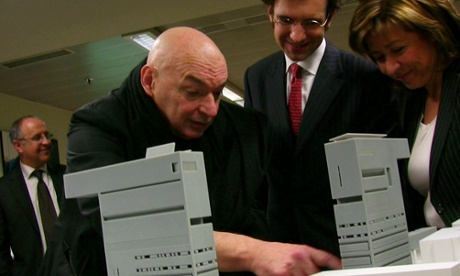Open sesame … Jean Nouvel shows his model to the Andorran minister of culture.