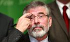 Gerry Adams on euro campaign trial, Belfast