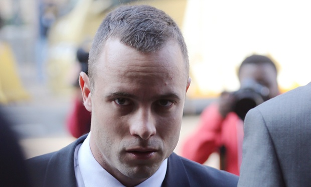 Oscar Pistorius arrives at the high court in Pretoria, South Africa, on Thursday.