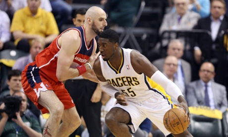 Indiana Pacers' Roy Hibbert drives against Washington Wizards' Marcin Gortat in game two of the second round of the 2014 NBA Playoffs at Bankers Life Fieldhouse.