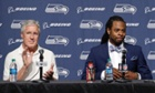 Richard Sherman with coach Pete Carroll. seattle seahawks