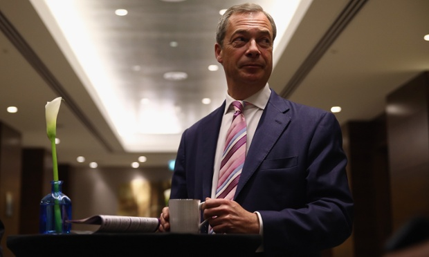 Nigel Farage waiting speak at the launch of Ukip's local election campaign yesterday.