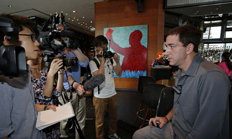Greenwald talking to reporters on 10 June 2013, the day after Snowden revealed his identity