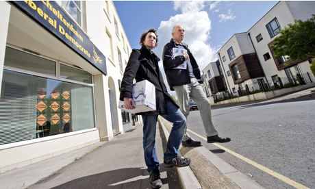 Steve Jordan, the Lib Dem leader of Cheltenham borough council, with party worker Chris Ward