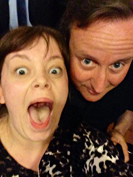 Becky Smith and David Cameron in Nando's