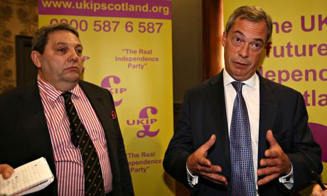 UKIP's Scottish MEP candidate David Coburn (left) seen with party leader Nigel Farage. Photograph: David Cheskin/PA