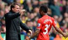 Brendan Rodgers with Raheem Sterling. Liverpool manager says Sterling's disallowed goal was decisive