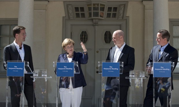 (L-R) Dutch prime minister Mark Rutte, German chancellor Angela Merkel, Swedish prime minister Fredrik Reinfeldt and David Cameron address a joint press conference in front of the summer residence of the Swedish prime minister, in Harpsund, 120km west of Stockholm